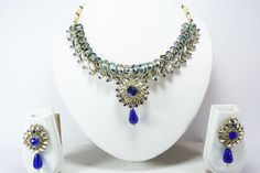 INDIAN BOLLYWOOD ETHNIC BRIDAL GOLD NECKLACE PENDANT EARRINGS SET WOMEN  JEWELRY #Handmade