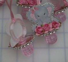 Items similar to 12 Elephant Baby Shower Pacifier Necklaces Lavender & Gray Baby Girl Elephant Baby Girl - Baby Shower Games - Party Decorations on Etsy Distintivos Baby Shower, Baby Girl Shower Themes, Girl Baby Shower Decorations, Elephant Baby Shower Centerpieces, Baby Girl Elephant, Elephant Theme, Elephant Baby Showers, Instagram, Babyshower