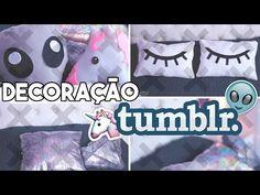 DIY Decoração de Quarto Tumblr - 5 Almofadas (unicórnio, diamante e +) - YouTube