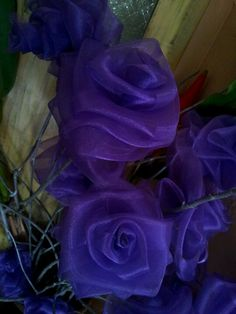 Purple diy organza roses