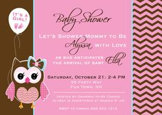 Baby Shower Invite Owl Chevron Pink Brown by AsYouWishCreations4u, $14.00