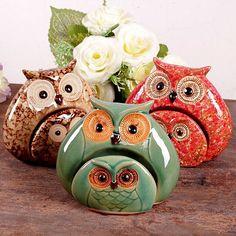 Set of 2 Home Decor Collectible Snowflakes Glaze Ceramic Owl Owlet Parent-Child Figurine For Living room