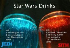 Jedi and Sith cocktails) Liquor Drinks, Cocktail Drinks, Beverages, Disney Cocktails, Mixed Drinks Alcohol, Alcohol Drink Recipes, Alcholic Drinks, Summer Drinks, Jedi Sith