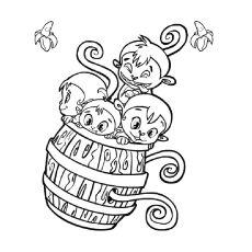 Print Coloring Image Cute MonkeyMonkeysColoring PagesBarrelsFree