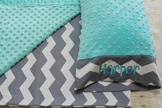 Nap Mat Cover - Grey - Chevron - Aqua - Choose Your Colors - Kindermat - Back To School - Pillowcase - Blanket - Minky