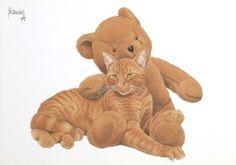 Postkaarten    Francien's Katten    Francien Westering, van    C6057    Teddyberen, Katten (Rood), Postkaarten, Tekeningen, Dieren, Katten,