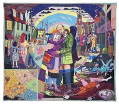 In Its Familiarity, Golden. Grayson Perry, 2015, Crafts Council Collection: 2016.19. Purchase of the 'Essex House Tapestries: the Life of Julie Cope' (2014) supported by the Art Fund and a donation from Maylis and James Grand. Image courtesy of the artist, Paragon Press, and Victoria Miro, London. © Grayson Perry