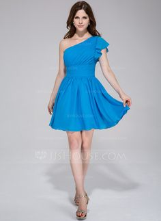 A-Line/Princess One-Shoulder Short/Mini Chiffon Bridesmaid Dress With Cascading Ruffles (020037400)