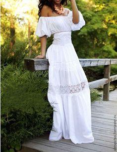 Купить Платье-сарафан в пол из хлопка - белый, однотонный, платье вечернее, платье длинное