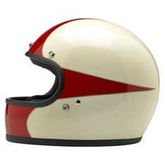 Biltwell Gringo LE Helmet: Scallop White/Red— Injection-molded ABS outer shell with hand-painted finish • Expanded polystyrene inner shell • Hand-sewn removable brushed Lycra liner with contrasting diamond-stitched quilted open-cell foam padding • Meets DOT safety standards • Internal BioFoam chin pad with hand-sewn contrast stitching • Rugged plated steel D-ring neck strap with adjustment strap end retainer • Rubber or chrome accent edging on shell and eye port • XS through XXL…