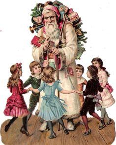 Oblaten Glanzbild scrap die cut chromo Nikolaus XL santa father XMAS christmas