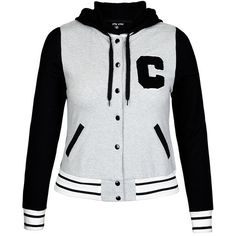 City Chic Varsity Hoodie ($30) ❤ liked on Polyvore featuring tops, hoodies, hooded sweatshirt, sports hoodie, hoodie top, long sleeve hooded sweatshirt and sports tops