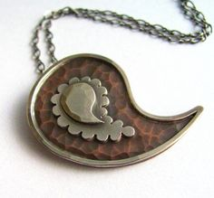 Silver Paisley Jewelry   Jewelry...my style / Mixed Metal Paisley Necklace Metalsmith Silver ...