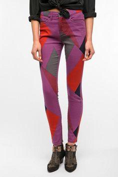 BDG High-Rise Cigarette Printed Jeans in Purple Multi