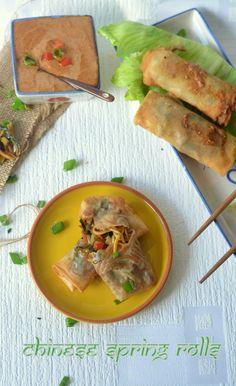UK Rasoi : Chinese Spring Rolls- with Thai Peanut Sauce