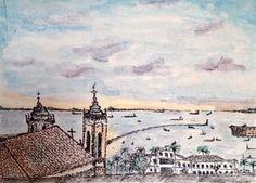 Igreja da Conceição da Praia e a Bahia de Todos os Santos, vista da Ladeira da Montanha.