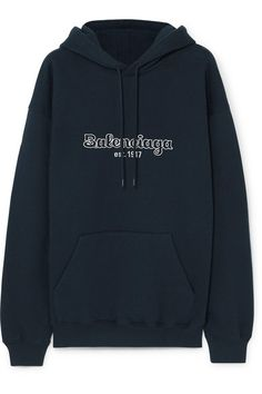 Balenciaga Jersey Embroidered Cotton-jersey Sweatshirt/Hoodie Size 8 (M) Simple Outfits For Teens, Balenciaga Clutch, Casual Cosplay, Hoodies, Sweatshirts, Midnight Blue, Aesthetic Clothes, How To Wear, Hand Jewelry