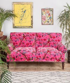 Magenta Pink Bird of Paradise Cotton Velvet Two Seater Sofa – Ian Snow Ltd Home Modern, Magenta, Pink Sofa, Pink Bird, Cotton Velvet, Bedroom Colors, Bedroom Ideas, Fabric Panels, Sweet Home