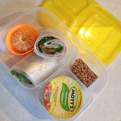 Ham and cheese wrap packed for lunch | packed in @EasyLunchboxes containers