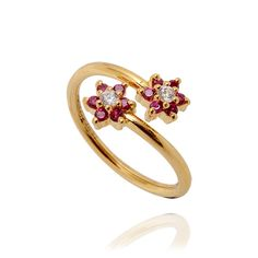 Rings | 22KT Red Flower Gold Spiral Ring | GRT Jewellers