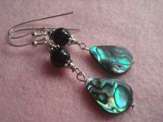 Black pearl and Abalone shell earrings, pearl and shell earrings by MicheladasMusings on Etsy
