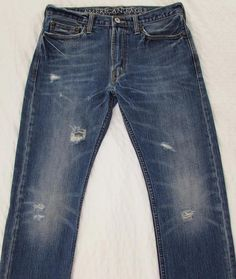 Men American Eagle Vintage Slim Distressed Destroyed Jeans Mid Rise sz 30 X 30 #AmericanEagleOutfitters #SlimStraight