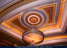 Decorative ceiling coffer panels with gold leaf dental border installed, Caesars Palace Hotel, Atlantic City, New Jersey
