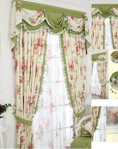 Shabby Chic Curtain With Floral Pattern And Green Color