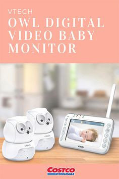 VTech Owl Digital Video Baby Monitor with Two Pan & Tilt Cameras and Night Vision: The cameras—designed as owls—move up and down to give you lots of coverage of your little one. When the room goes dark, the owls turn on night vision so you can see clearly. Your baby will smile when she hears your voice from another room through the two-way, talk-back intercom.