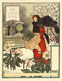 Happy December Everyone! Belle Epoque, Eugene Grasset, Grim Reaper Art, Davidson Galleries, Art Nouveau Poster, Happy December, Art Calendar, Vintage Calendar, Mermaid Drawings