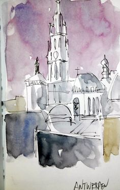 3 minutes sketching. Love it Watercolours, Watercolor Paintings, Creative Class, Ink Wash, Urban Sketchers, Small Paintings, Paint Colors, Art Projects, Quentin Blake