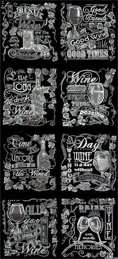 "Vineyard - Chalkboard Wine Tour - Gray - 24"" x 44"" PANEL"