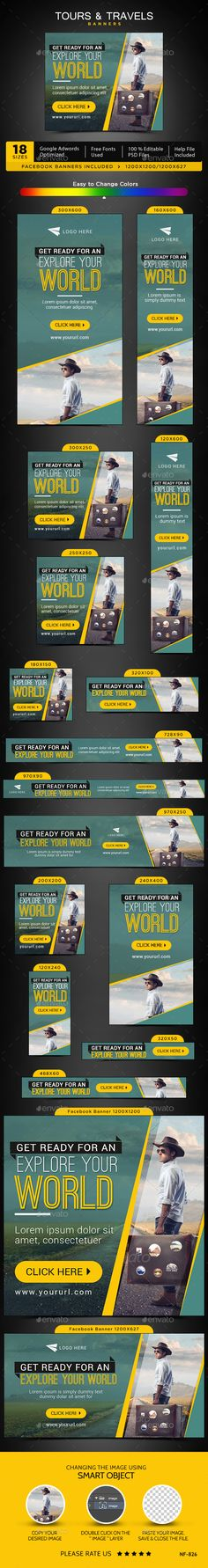Tours & Travels Web Banners Template PSD #design #ads Download: http://graphicriver.net/item/tours-travels-banners/13845561?ref=ksioks