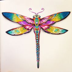 My version of Johanna Basford's dragonfly in Enchanted Forest - using Milan coloured pencils and some shading practice!