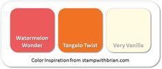 Stampin' Up! Color Inspiration: Watermelon Wonder, Tangelo Twist, Very Vanilla