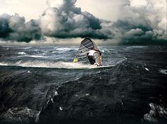 Pure adrenaline. What a beautiful windsurfing shot