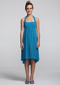This chic and youthful chiffon dress is the perfect choice for your junior bridesmaid!  Tie back halter neckline features sparkling and flattering beaded empire waist.  Chiffon high low hemline creates movement and dimension.  This style features an adjustable fit for added flexibility and comfort with fewer alterations.  Fully lined. Back zip. Imported polyester. Dry clean.