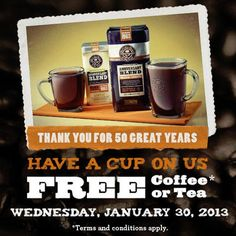 FREE Cup of Coffee and Tea on January 30 #freecoffee #freebies