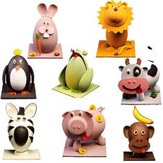 Marzipan characters - Can also be made using a mixture of fondant icing and flower paste. Easter Chocolate, Chocolate Gifts, Marzipan, Easter Egg Crafts, Easter Eggs, Easter Show, Chocolate Showpiece, Easter Egg Designs, Diy Ostern