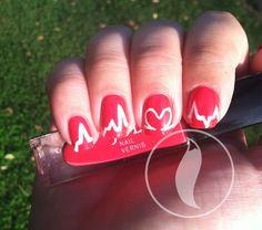 heart beat nail art