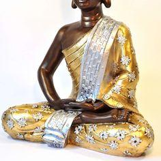 Buddha Figur Meditation dunkel 60cm