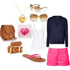 Pink shorts! Classy summer night out. Created by:   jessica-miller-1.polyvore.com