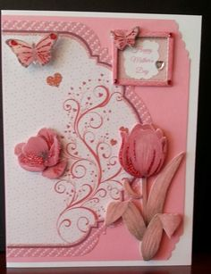 www.fb.com/susansdesignstudio  This is a beautiful Mother's Day card. The inside is blank so you can add your personal sentiment. Finished card is 6 1/2 x 5 inches. $5.00 Cdn. Mother's Day 1