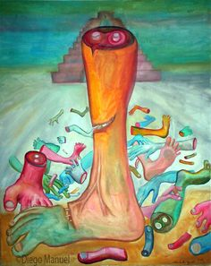sacrificio de la piramide. Painting of the Serie Surrealism for sale by artist Diego Manuel