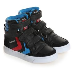 4f336b061221ee Boys Black Leather High-Top Trainers