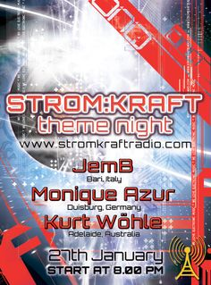 Sunday 27th Jan. '13 8.00pm – STROM:KRAFT theme night – exclusive radio show