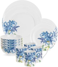 Portmeirion® Royal Worcester Essentials 16-Piece Blue Agapanthus Dinnerware Set