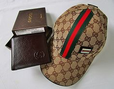 NEW GUCCI MEN'S GG BROWN LEATHER GUCCISSIMA  BI-FORD WALLET WITH GUCCI CAP FREE. #BestSteelWarrior