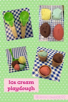 Play dough ice cream including dough, scoops, umbrellas, sprinkles, comes and sundae glasses. EYFS