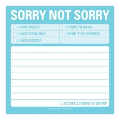 Sorry Not Sorry Sticky Notes